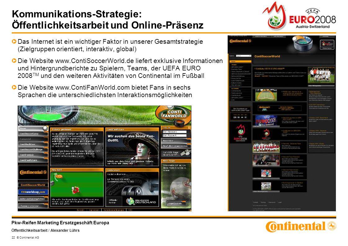 Pkw-Reifen Marketing Ersatzgeschäft Europa Öffentlichkeitsarbeit / Alexander Lührs 22 © Continental AG Kommunikations-Strategie: Öffentlichkeitsarbeit