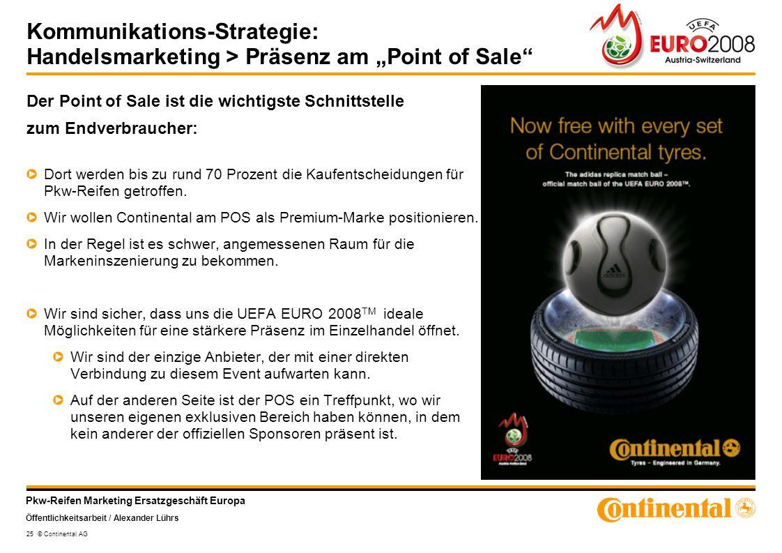 Pkw-Reifen Marketing Ersatzgeschäft Europa Öffentlichkeitsarbeit / Alexander Lührs 25 © Continental AG Kommunikations-Strategie: Handelsmarketing > Pr