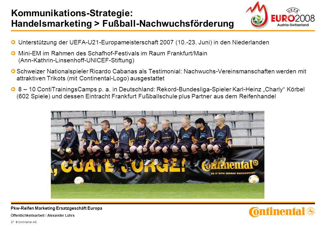 Pkw-Reifen Marketing Ersatzgeschäft Europa Öffentlichkeitsarbeit / Alexander Lührs 27 © Continental AG Kommunikations-Strategie: Handelsmarketing > Fu