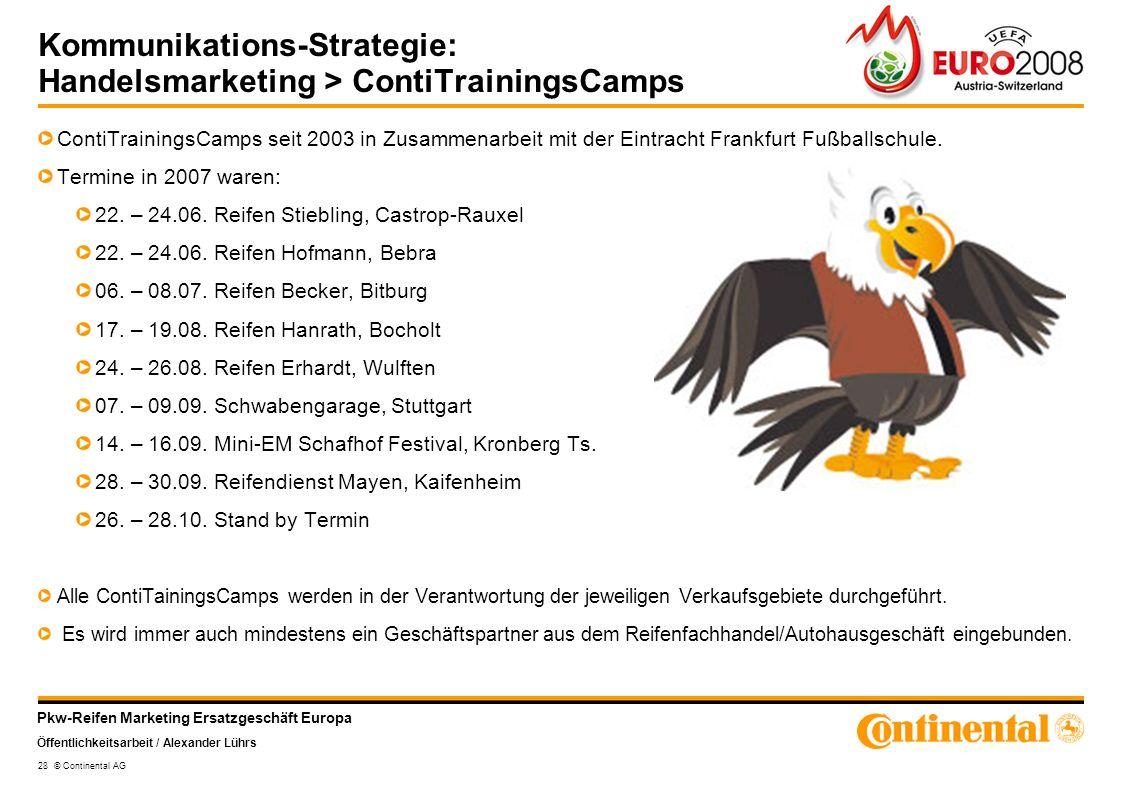 Pkw-Reifen Marketing Ersatzgeschäft Europa Öffentlichkeitsarbeit / Alexander Lührs 28 © Continental AG Kommunikations-Strategie: Handelsmarketing > Co