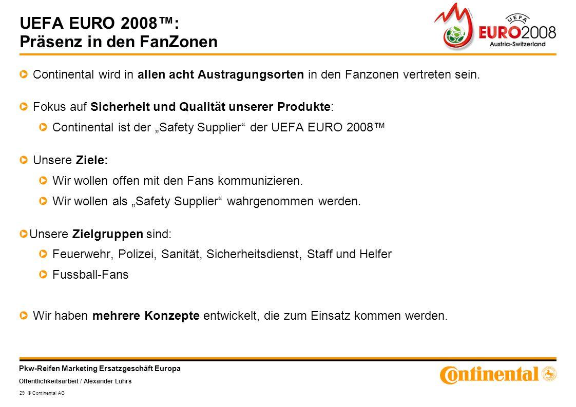 Pkw-Reifen Marketing Ersatzgeschäft Europa Öffentlichkeitsarbeit / Alexander Lührs 29 © Continental AG UEFA EURO 2008: Präsenz in den FanZonen Contine