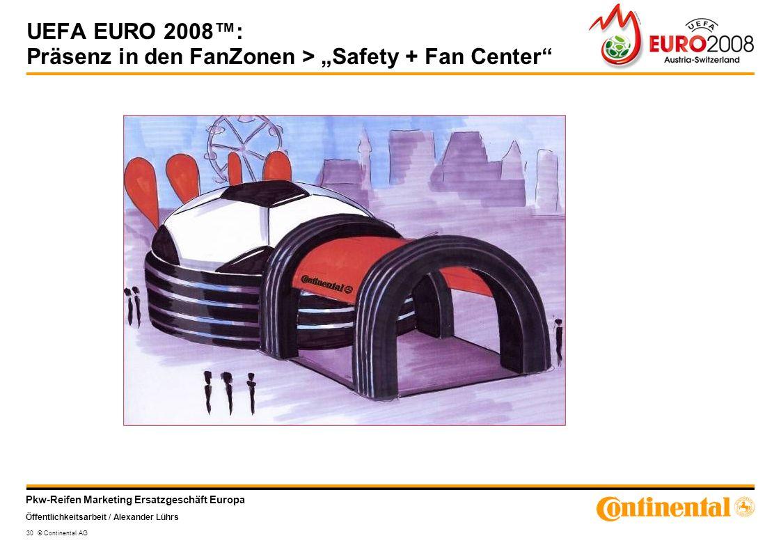 Pkw-Reifen Marketing Ersatzgeschäft Europa Öffentlichkeitsarbeit / Alexander Lührs 30 © Continental AG UEFA EURO 2008: Präsenz in den FanZonen > Safet