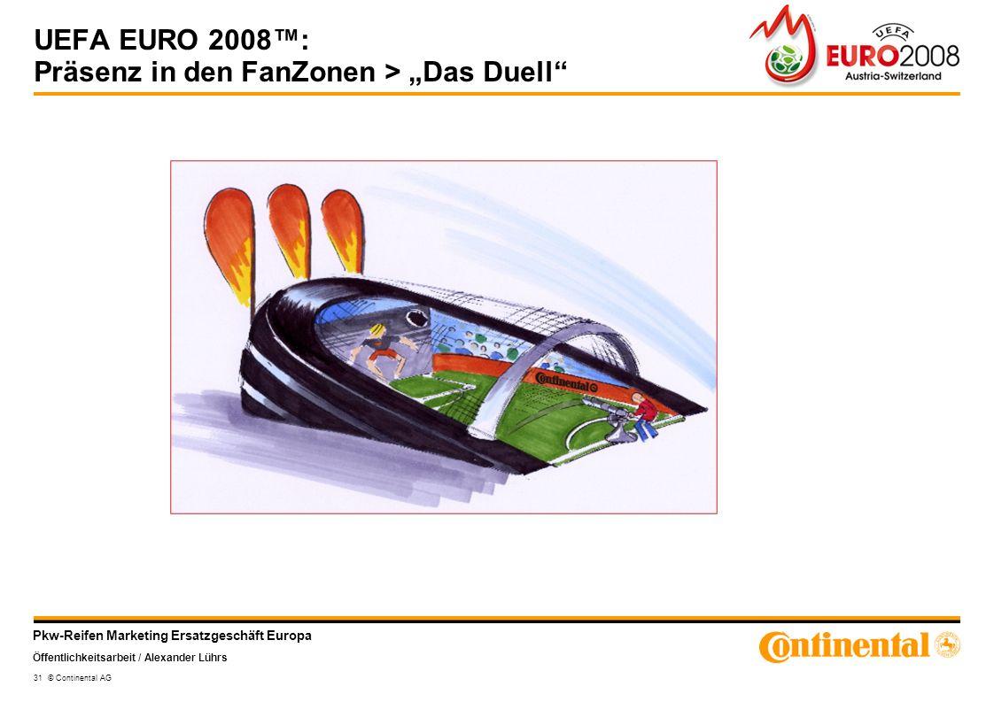 Pkw-Reifen Marketing Ersatzgeschäft Europa Öffentlichkeitsarbeit / Alexander Lührs 31 © Continental AG UEFA EURO 2008: Präsenz in den FanZonen > Das D