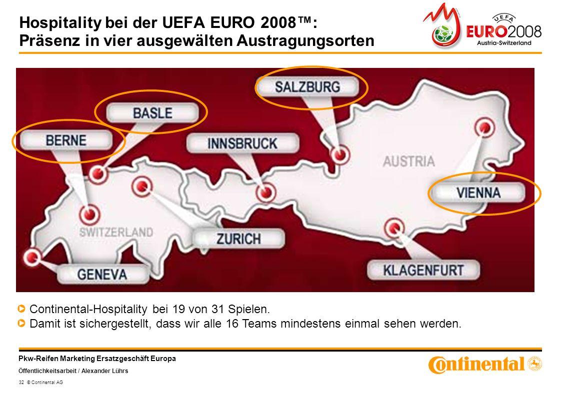Pkw-Reifen Marketing Ersatzgeschäft Europa Öffentlichkeitsarbeit / Alexander Lührs 32 © Continental AG Hospitality bei der UEFA EURO 2008: Präsenz in