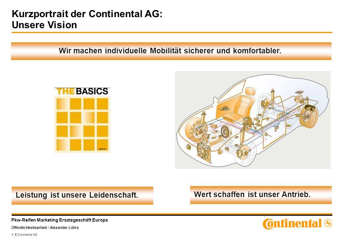 Pkw-Reifen Marketing Ersatzgeschäft Europa Öffentlichkeitsarbeit / Alexander Lührs 4 © Continental AG Wir machen individuelle Mobilität sicherer und k