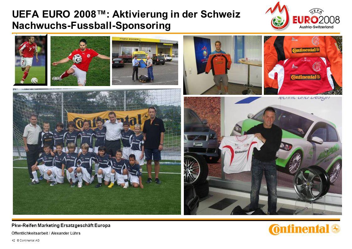 Pkw-Reifen Marketing Ersatzgeschäft Europa Öffentlichkeitsarbeit / Alexander Lührs 42 © Continental AG UEFA EURO 2008: Aktivierung in der Schweiz Nach