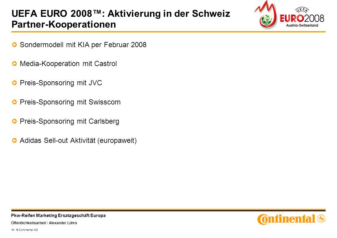 Pkw-Reifen Marketing Ersatzgeschäft Europa Öffentlichkeitsarbeit / Alexander Lührs 44 © Continental AG UEFA EURO 2008: Aktivierung in der Schweiz Part
