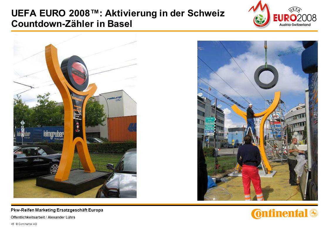 Pkw-Reifen Marketing Ersatzgeschäft Europa Öffentlichkeitsarbeit / Alexander Lührs 45 © Continental AG UEFA EURO 2008: Aktivierung in der Schweiz Coun