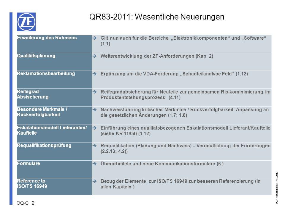 OQ-C 2 © ZF Friedrichshafen AG, 2010 Erweiterung des Rahmens Gilt nun auch für die Bereiche Elektronikkomponenten und Software (1.1) Qualitätsplanung