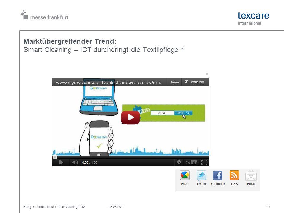 Marktübergreifender Trend: Smart Cleaning – ICT durchdringt die Textilpflege 1 Böttger: Professional Textile Cleaning 201205.05.201210