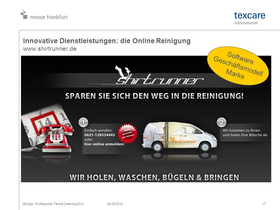 Innovative Dienstleistungen: die Online Reinigung www.shirtrunner.de Böttger: Professional Textile Cleaning 201205.05.201217 Software Geschäftsmodell