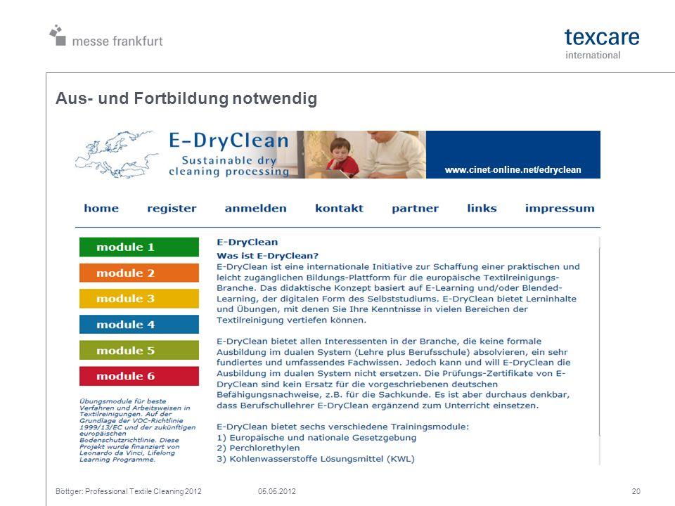 Aus- und Fortbildung notwendig Böttger: Professional Textile Cleaning 201205.05.201220 www.cinet-online.net/edryclean