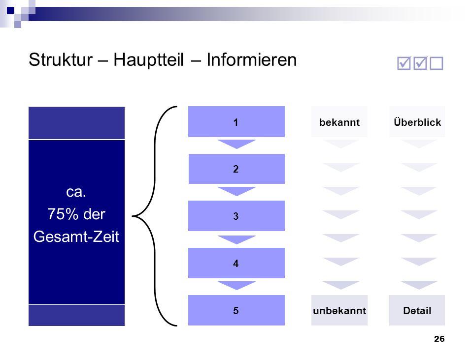 26 Struktur – Hauptteil – Informieren 2 3 4 5 1bekannt ca. 75% der Gesamt-Zeit Überblick unbekanntDetail
