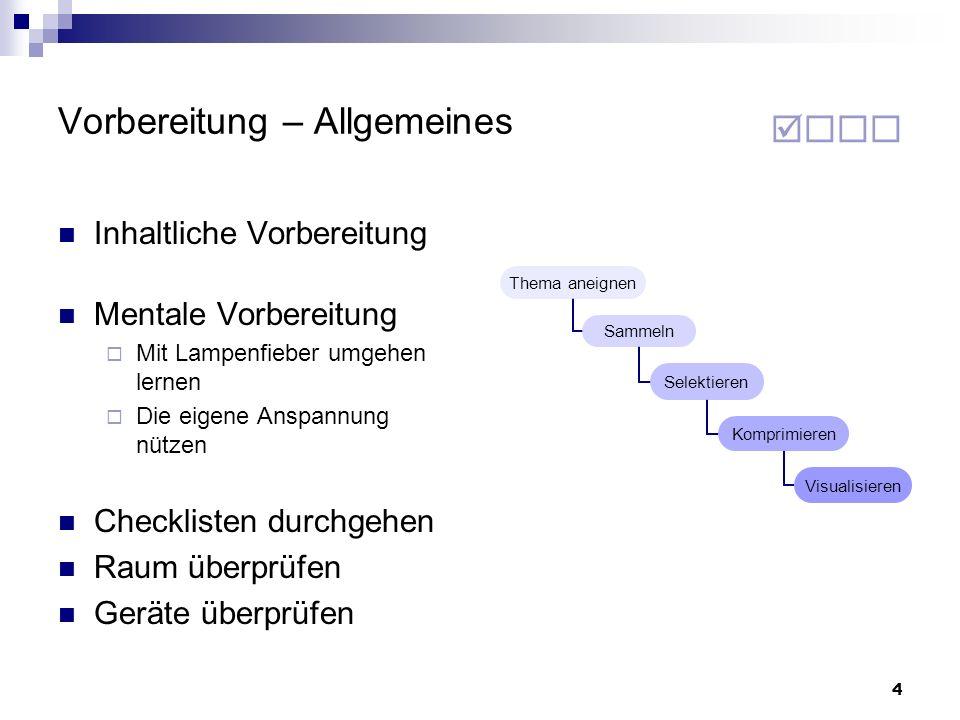 65 Vortragen – Allgemeines Was muss ich berücksichtigen.