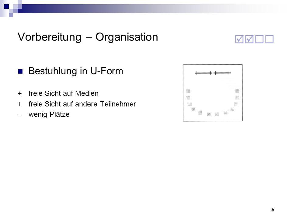 5 Vorbereitung – Organisation Bestuhlung in U-Form +freie Sicht auf Medien +freie Sicht auf andere Teilnehmer -wenig Plätze