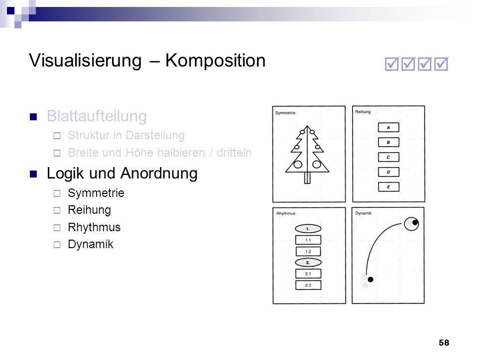 58 Visualisierung – Komposition Blattaufteilung Struktur in Darstellung Breite und Höhe halbieren / dritteln Logik und Anordnung Symmetrie Reihung Rhy