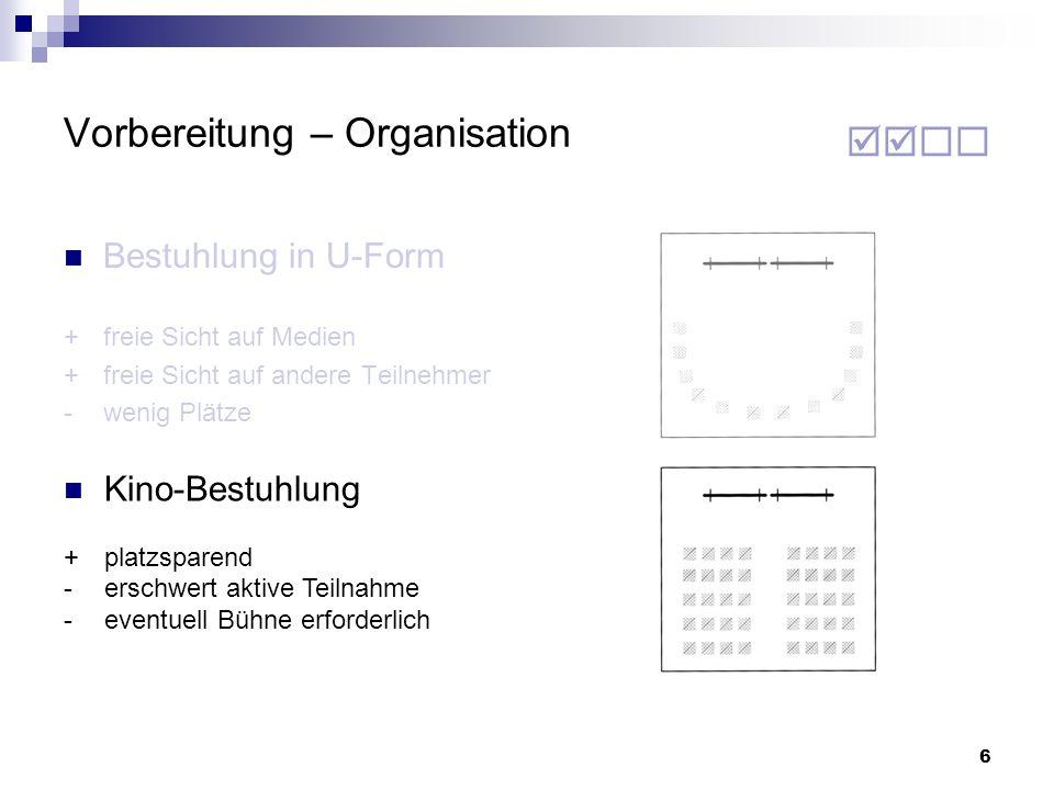 7 Vorbereitung – Organisation Verdunkelungs- Möglichkeit des Raumes überprüfen