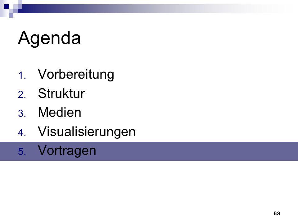 63 Agenda 1. Vorbereitung 2. Struktur 3. Medien 4. Visualisierungen 5. Vortragen