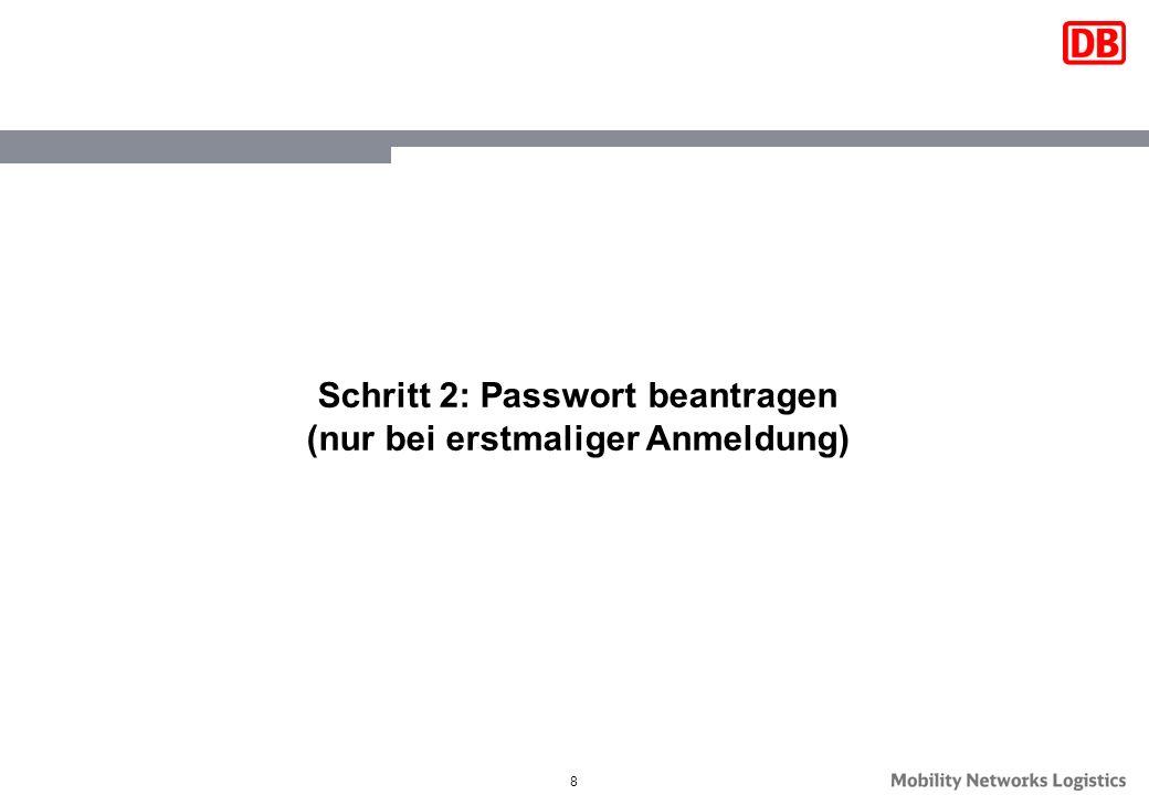 8 Schritt 2: Passwort beantragen (nur bei erstmaliger Anmeldung)