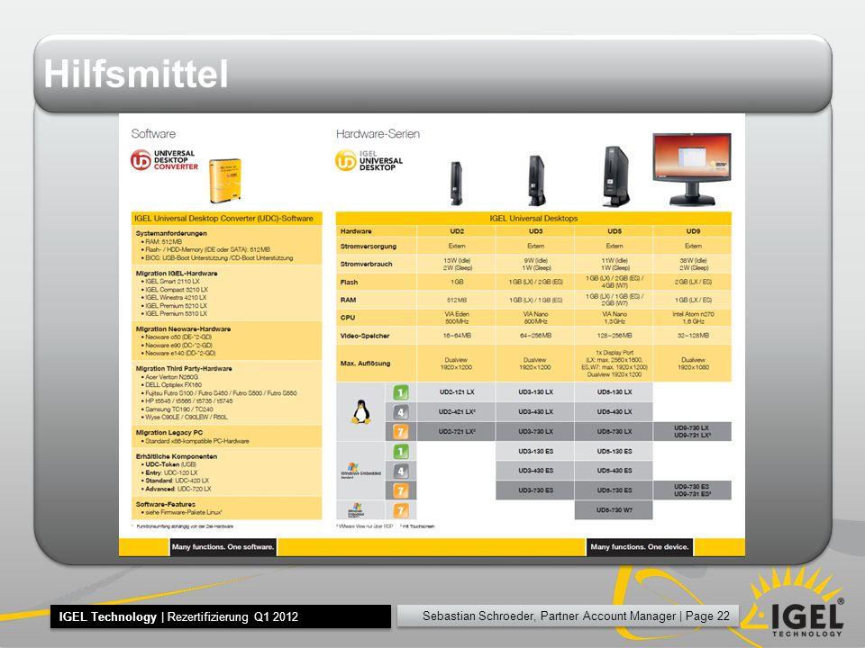 Sebastian Schroeder, Partner Account Manager | Page 22 IGEL Technology | Rezertifizierung Q1 2012 Hilfsmittel