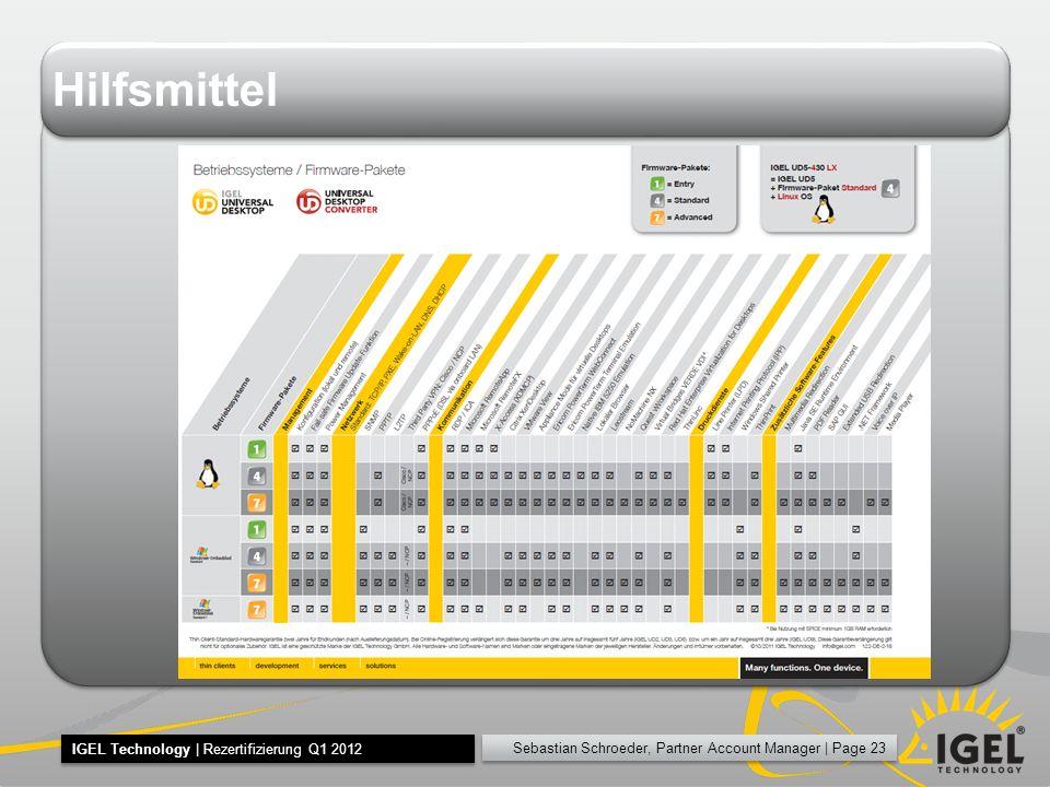 Sebastian Schroeder, Partner Account Manager | Page 23 IGEL Technology | Rezertifizierung Q1 2012 Hilfsmittel