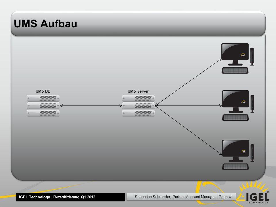 Sebastian Schroeder, Partner Account Manager | Page 41 IGEL Technology | Rezertifizierung Q1 2012 UMS Aufbau UMS ServerUMS DB