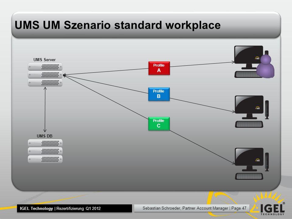 Sebastian Schroeder, Partner Account Manager | Page 47 IGEL Technology | Rezertifizierung Q1 2012 UMS UM Szenario standard workplace UMS Server UMS DB