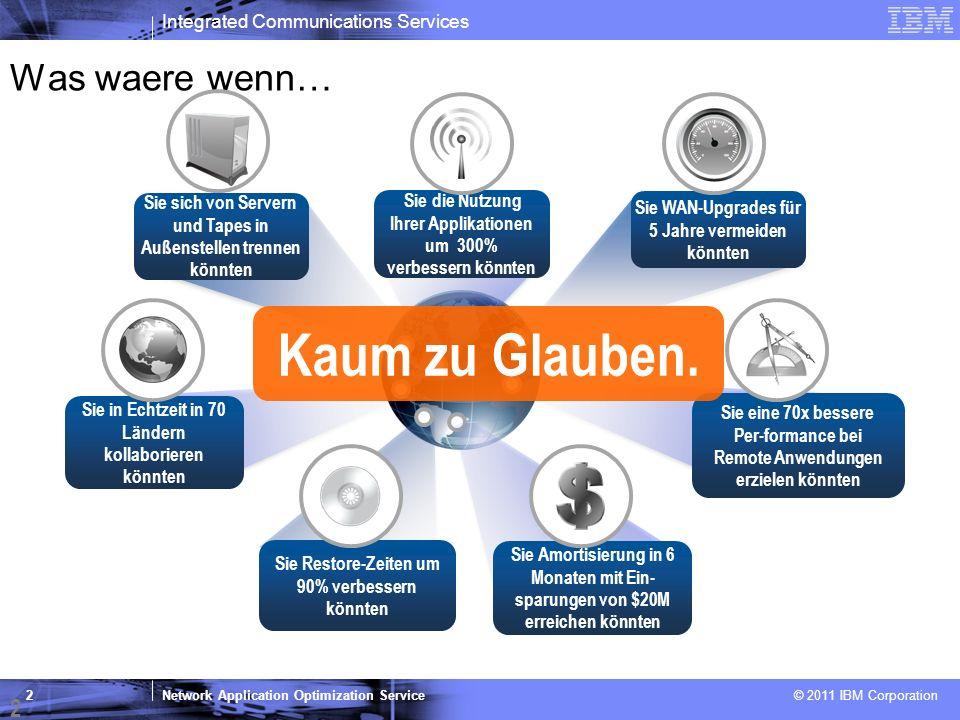 Network Application Optimization Service © 2011 IBM Corporation 2 Was waere wenn… Sie die Nutzung Ihrer Applikationen um 300% verbessern könnten Sie W