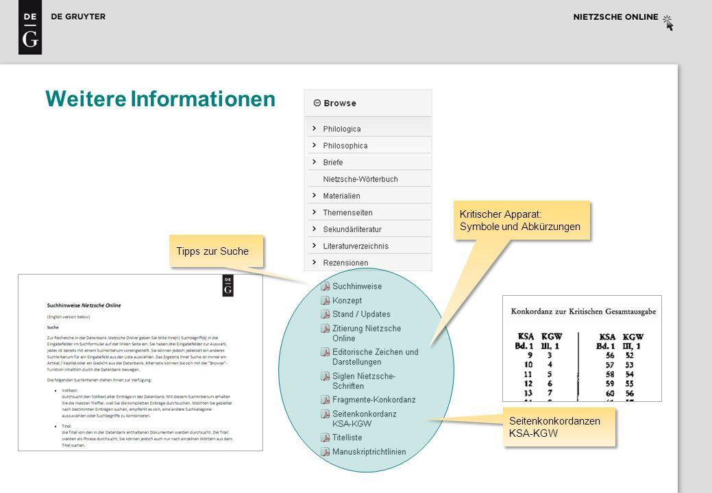 Weitere Informationen Tipps zur Suche Seitenkonkordanzen KSA-KGW Kritischer Apparat: Symbole und Abkürzungen Kritischer Apparat: Symbole und Abkürzung
