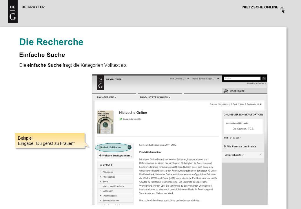Die Recherche Ergebnisliste: 35 Einträge Sortierung nach Titel, Relevanz, Autor, Briefdatum und DOI möglich.