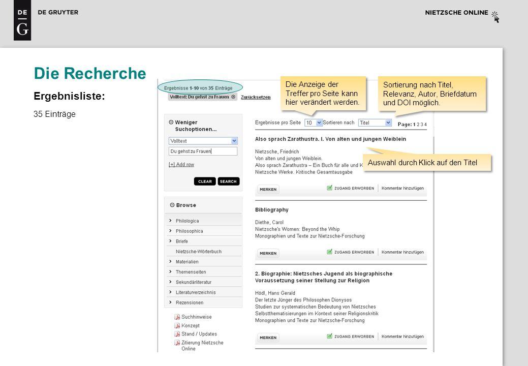 Die Recherche Ergebnisliste: 35 Einträge Sortierung nach Titel, Relevanz, Autor, Briefdatum und DOI möglich. Auswahl durch Klick auf den Titel Die Anz