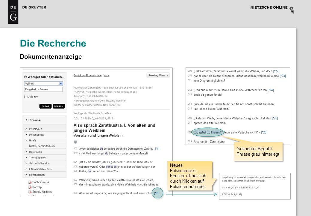Die Recherche Dokumentenanzeige Neues Fußnotentext- Fenster öffnet sich durch Klicken auf Fußnotennummer Gesuchter Begriff/ Phrase grau hinterlegt