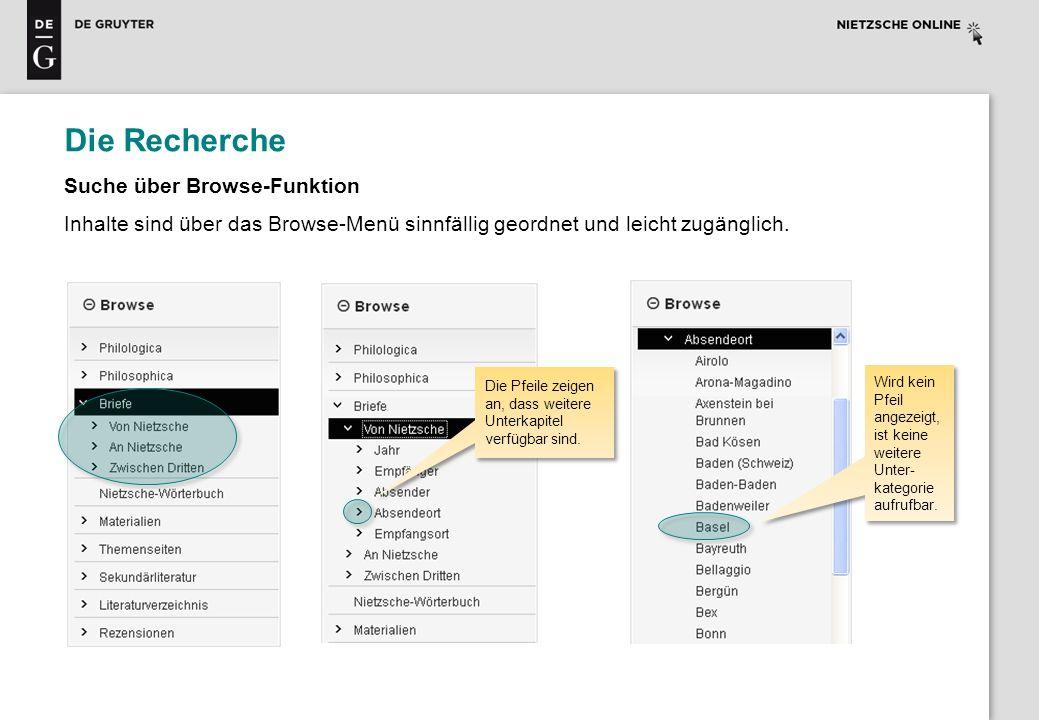 Die Recherche Suche über Browse-Funktion Inhalte sind über das Browse-Menü sinnfällig geordnet und leicht zugänglich. Die Pfeile zeigen an, dass weite