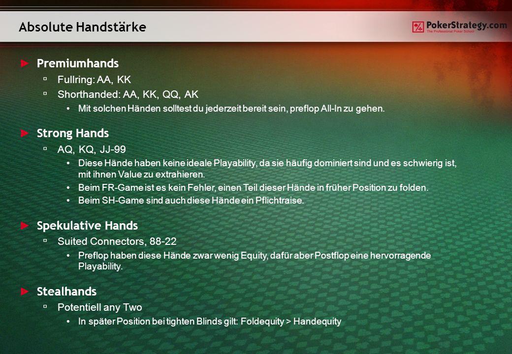 Premiumhands Fullring: AA, KK Shorthanded: AA, KK, QQ, AK Mit solchen Händen solltest du jederzeit bereit sein, preflop All-In zu gehen. Strong Hands