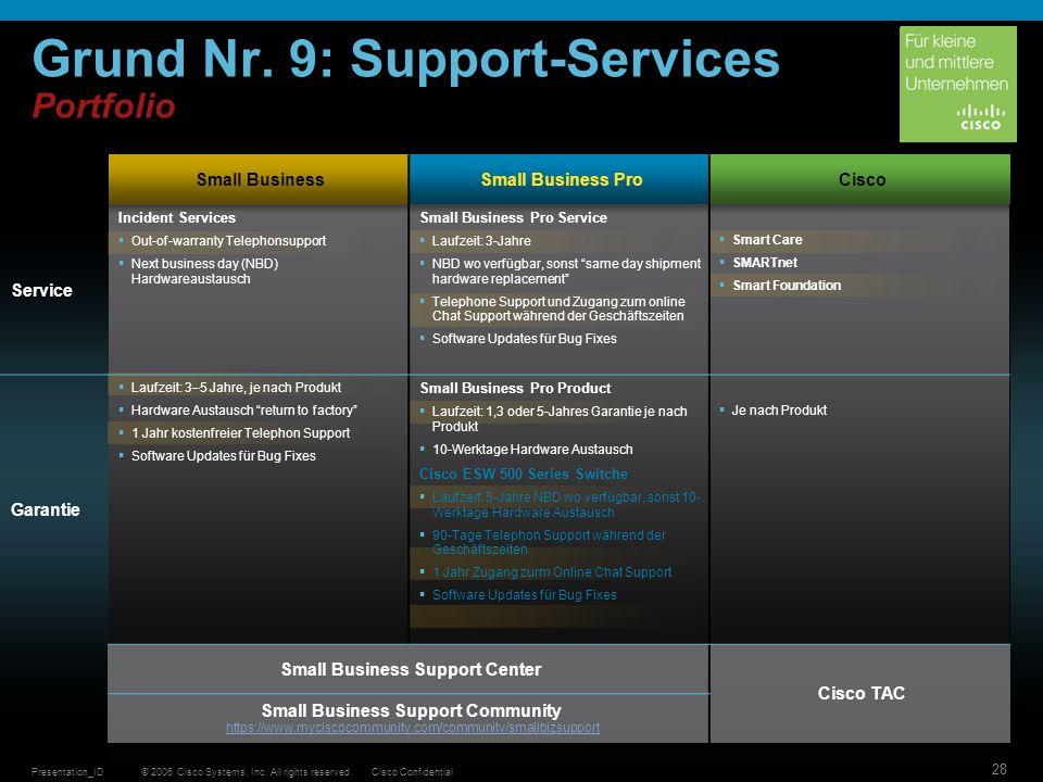 © 2006 Cisco Systems, Inc. All rights reserved.Cisco ConfidentialPresentation_ID 28 Grund Nr. 9: Support-Services Portfolio Small BusinessSmall Busine