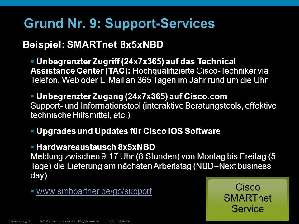 © 2006 Cisco Systems, Inc. All rights reserved.Cisco ConfidentialPresentation_ID 30 Grund Nr. 9: Support-Services Beispiel: SMARTnet 8x5xNBD Unbegrenz