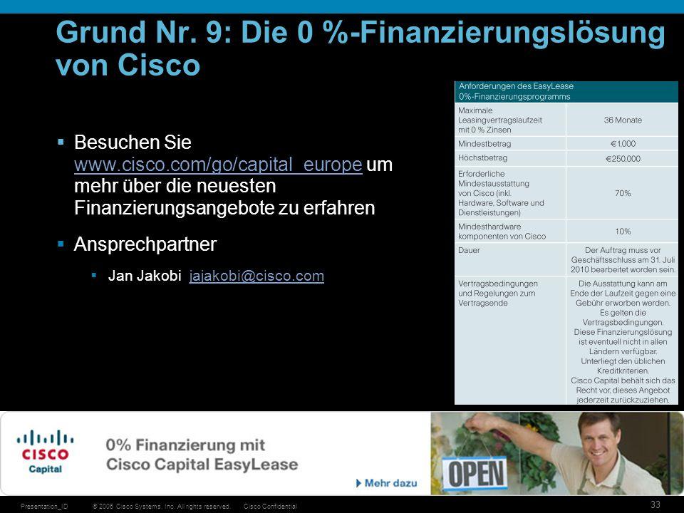 © 2006 Cisco Systems, Inc. All rights reserved.Cisco ConfidentialPresentation_ID 33 Grund Nr. 9: Die 0 %-Finanzierungslösung von Cisco Besuchen Sie ww