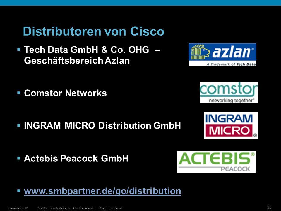 © 2006 Cisco Systems, Inc. All rights reserved.Cisco ConfidentialPresentation_ID 35 Distributoren von Cisco Tech Data GmbH & Co. OHG – Geschäftsbereic