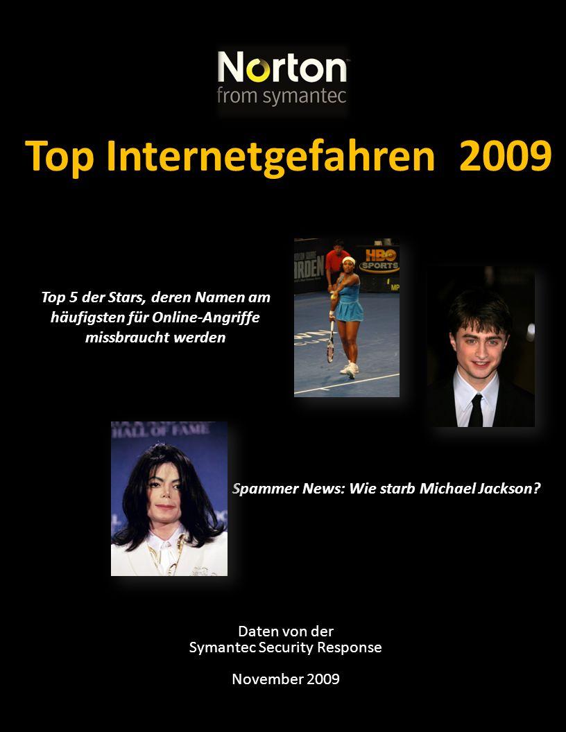 Top Internetgefahren 2009 Daten von der Symantec Security Response November 2009 Top 5 der Stars, deren Namen am häufigsten für Online-Angriffe missbr