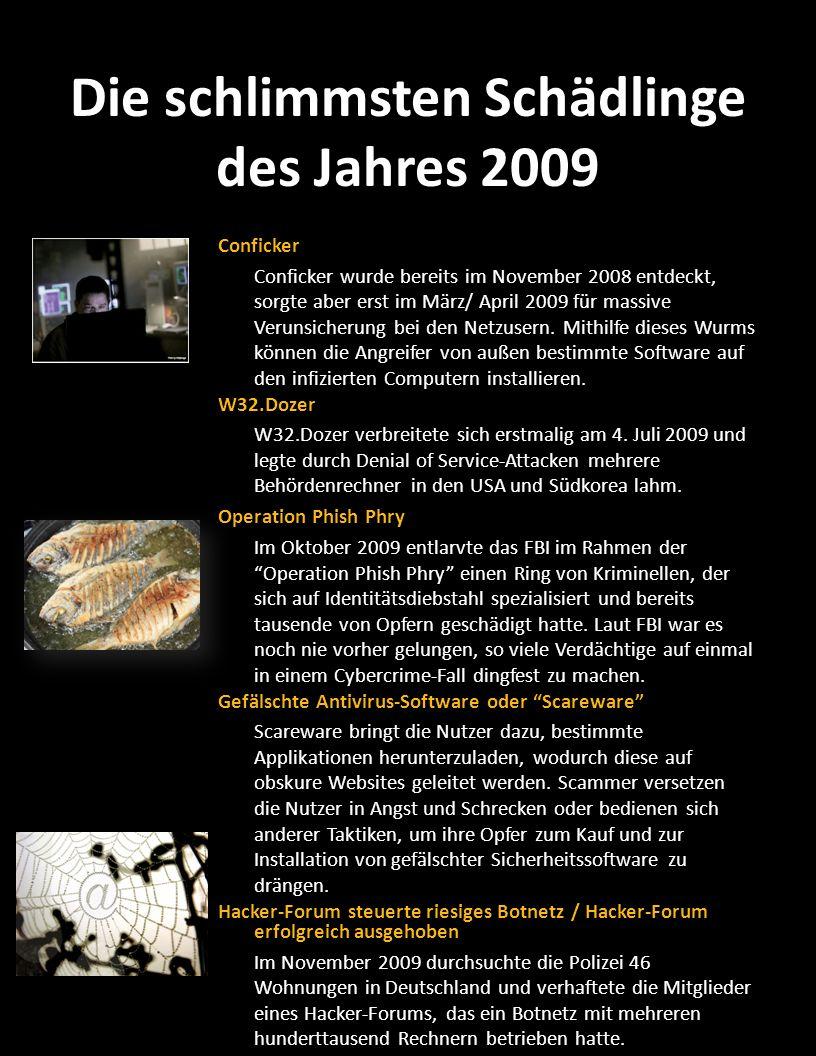 Die schlimmsten Schädlinge des Jahres 2009 Conficker Conficker wurde bereits im November 2008 entdeckt, sorgte aber erst im März/ April 2009 für massi