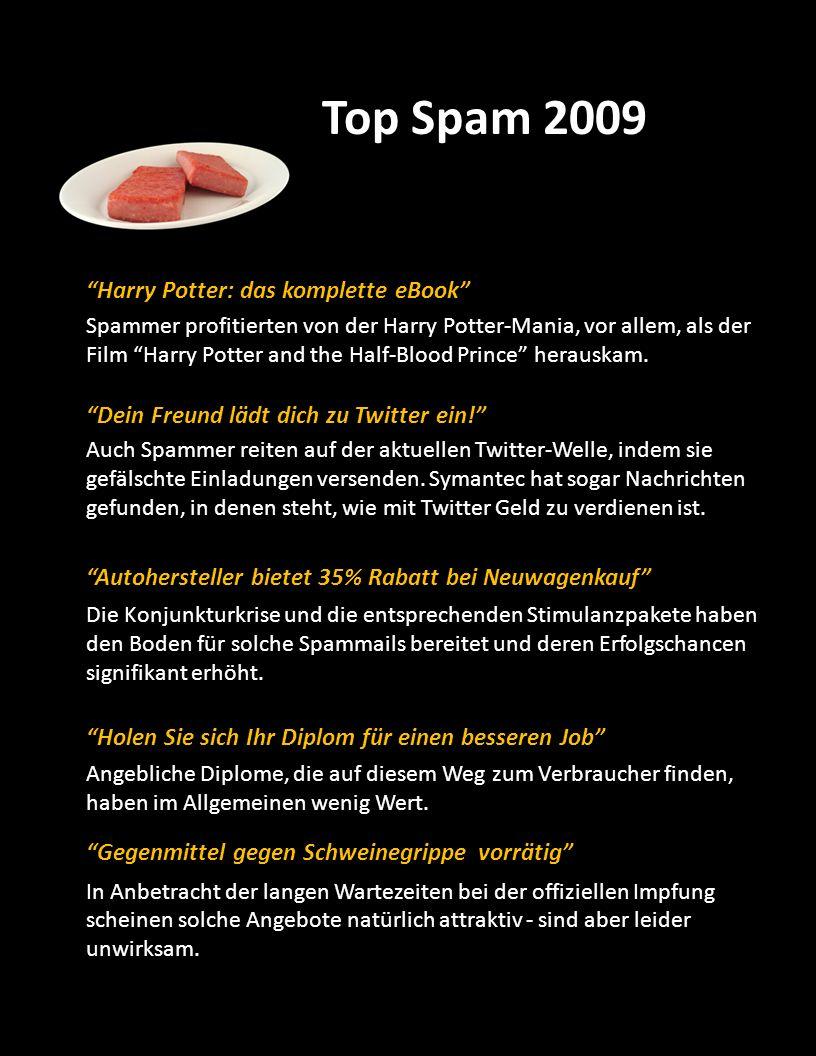 Top Spam 2009 Harry Potter: das komplette eBook Spammer profitierten von der Harry Potter-Mania, vor allem, als der Film Harry Potter and the Half-Blo