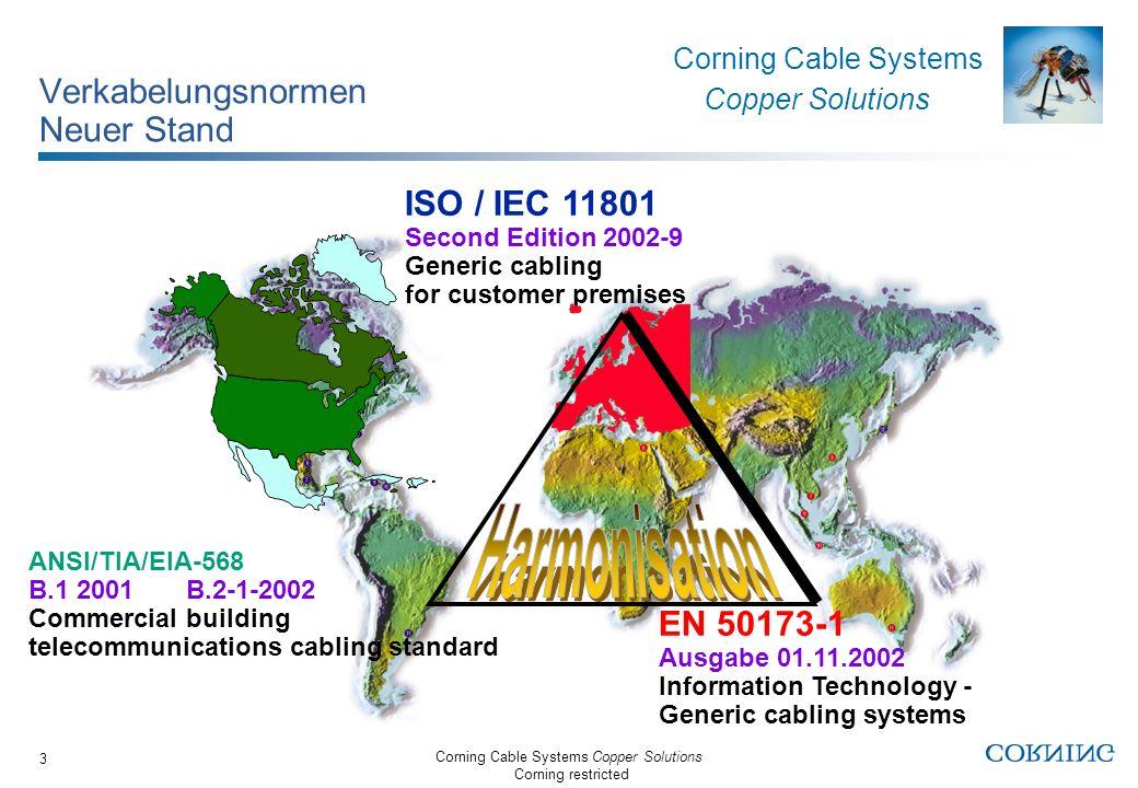Corning Cable Systems Copper Solutions Corning restricted Corning Cable Systems Copper Solutions 24 FutureCom Verkabelungssysteme abgestimmt für Klasse D (2002), E (2002) und F (2002) Die FutureCom D und UD Systeme mit ihren Kat.
