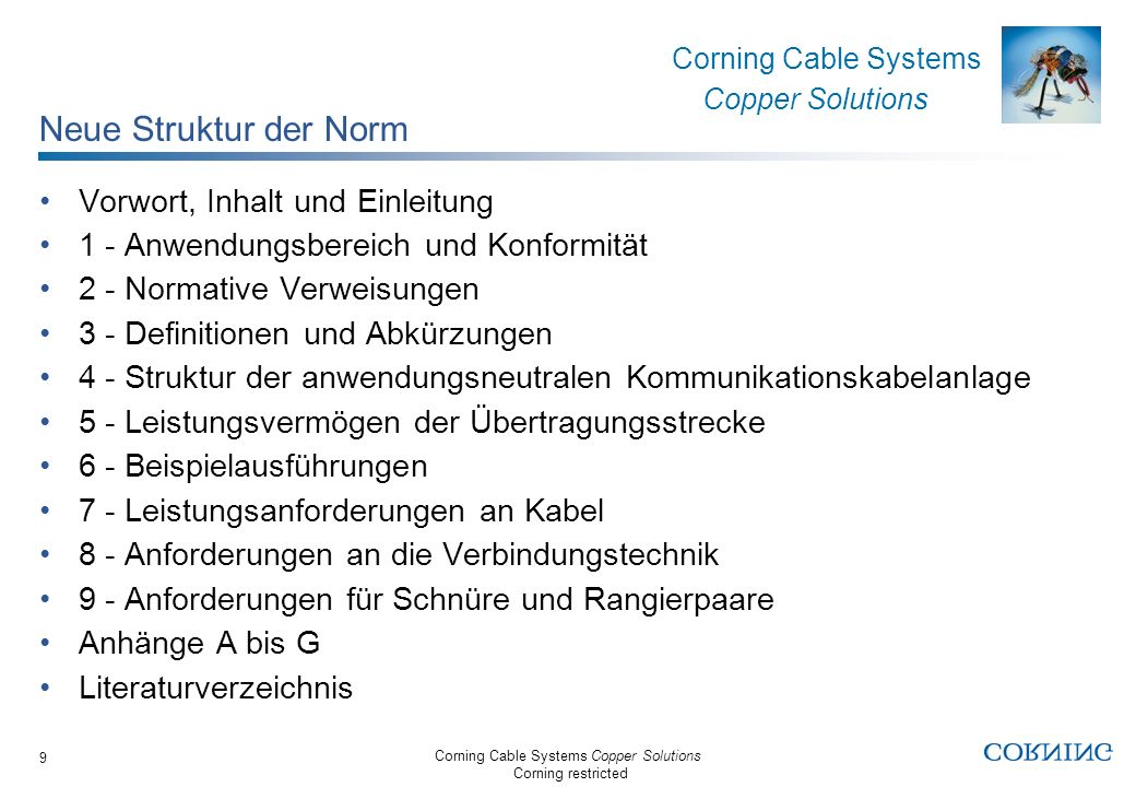 Corning Cable Systems Copper Solutions Corning restricted Corning Cable Systems Copper Solutions 9 Neue Struktur der Norm Vorwort, Inhalt und Einleitu
