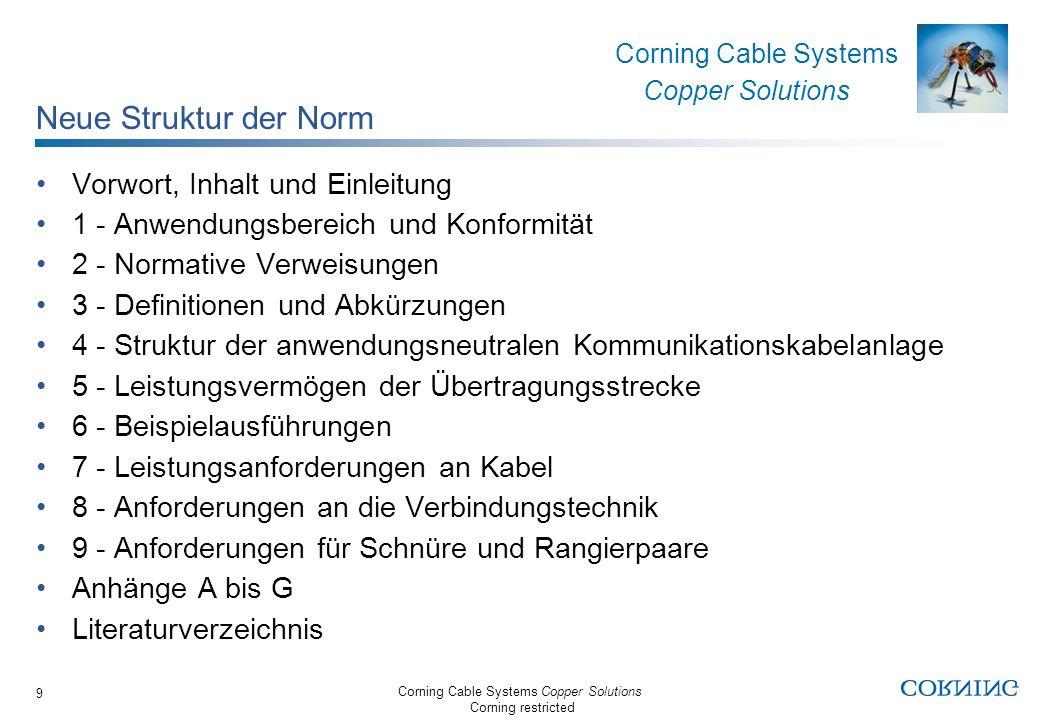 Corning Cable Systems Copper Solutions Corning restricted Corning Cable Systems Copper Solutions 10 Neue Definition der Übertragungsstrecken Die Übertragungsstrecke (Kanal / Channel) ist klar im Hauptteil der Norm definiert Werte für Permanent Link (Installationsstrecke) und Consolidation point link (Sammelpunktstrecke) im Anhang Maximale Übertragungsstrecke im Tertiärbereich: 100 m Maximale Übertragungsstrecke (Tertiär-, Sekundär- und Primärbereich): 2000 m