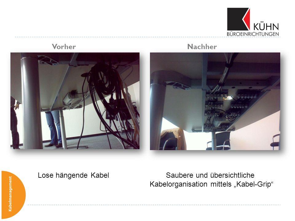 Vorher Nachher Lose hängende Kabel Saubere und übersichtliche Kabelorganisation mittels Kabel-Grip