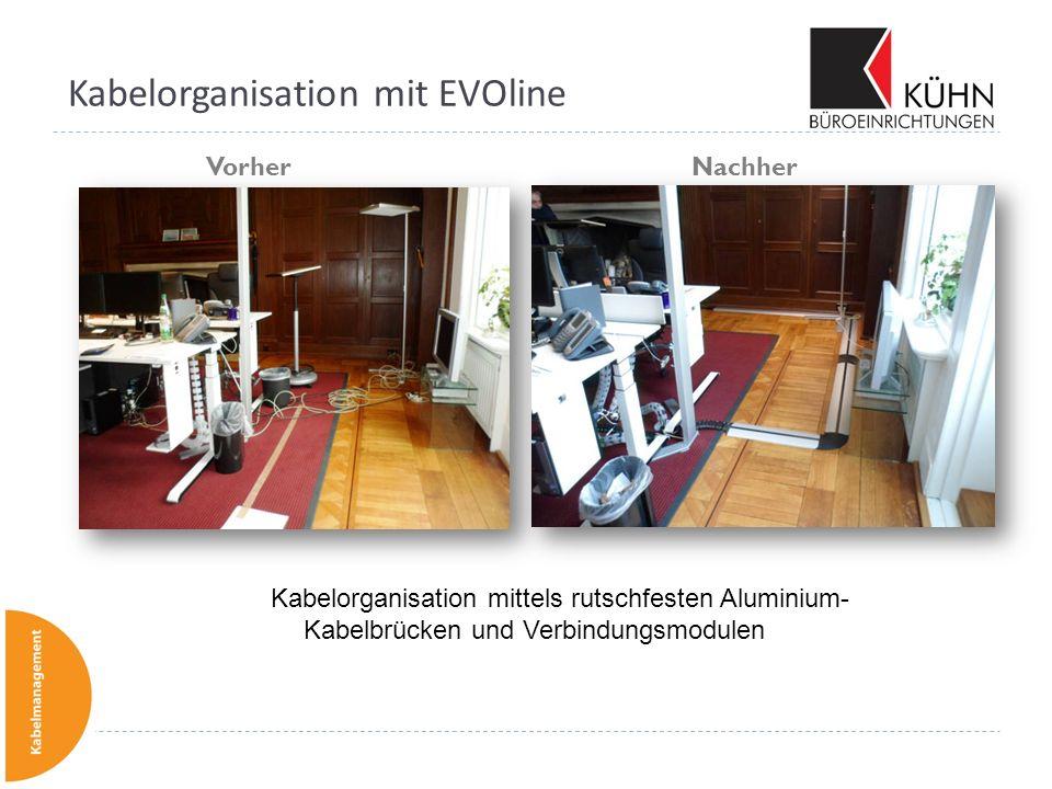 Kabelorganisation mit EVOline Vorher Nachher Kabelorganisation mittels rutschfesten Aluminium- Kabelbrücken und Verbindungsmodulen