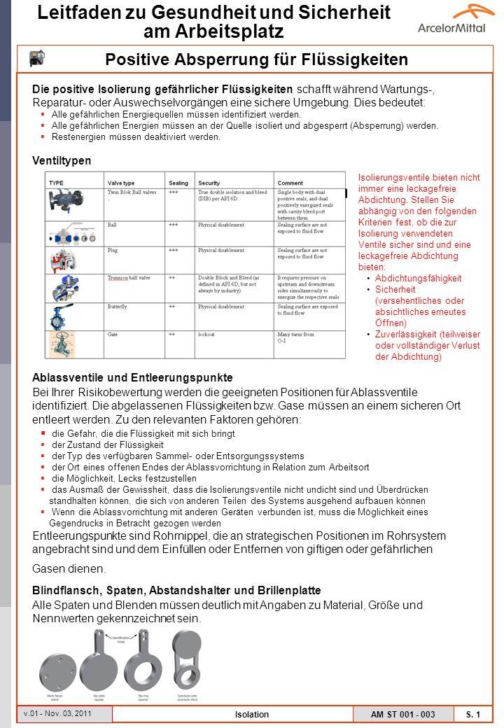 AM ST 001 - 003 S. 1 Leitfaden zu Gesundheit und Sicherheit am Arbeitsplatz v.01 - Nov. 03, 2011 Isolation Die positive Isolierung gefährlicher Flüssi