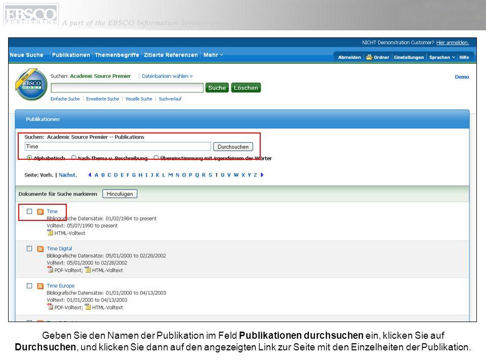 Geben Sie den Namen der Publikation im Feld Publikationen durchsuchen ein, klicken Sie auf Durchsuchen, und klicken Sie dann auf den angezeigten Link zur Seite mit den Einzelheiten der Publikation.