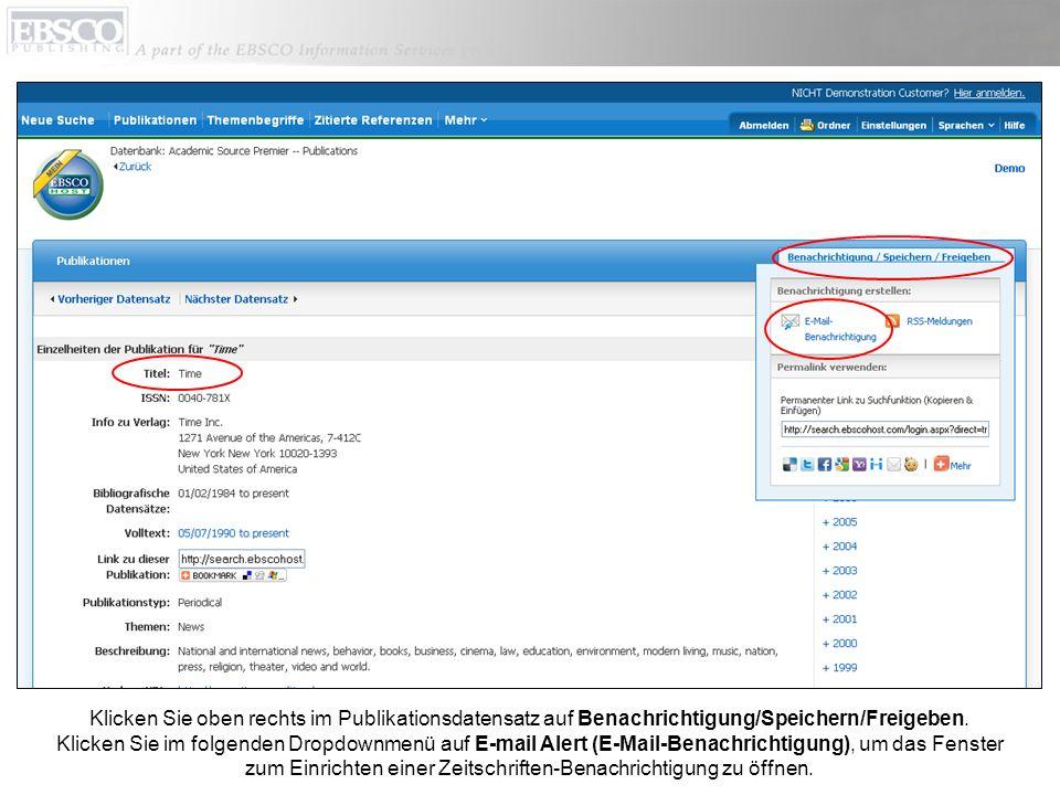 Richten Sie Ihre Parameter für Benachrichtigungen ein, fügen Sie Ihre E-Mail-Adresse hinzu und klicken Sie auf Benachrichtigung speichern.