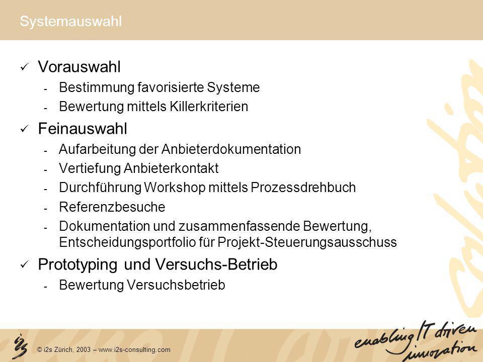 © i2s Zürich, 2003 – www.i2s-consulting.com Systemauswahl Vorauswahl - Bestimmung favorisierte Systeme - Bewertung mittels Killerkriterien Feinauswahl